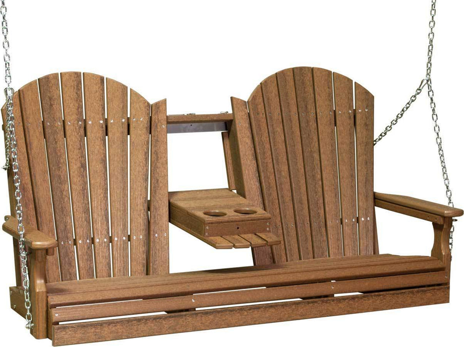 LuxCraft LuxCraft Adirondack 5ft. Recycled Plastic Porch Swing Antique Mahogany / Adirondack Porch Swing 5APSAM
