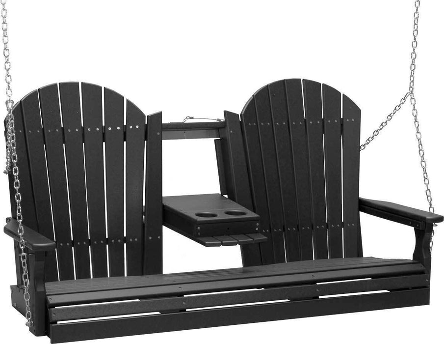 LuxCraft LuxCraft Adirondack 5ft. Recycled Plastic Porch Swing Black / Adirondack Porch Swing 5APSBK