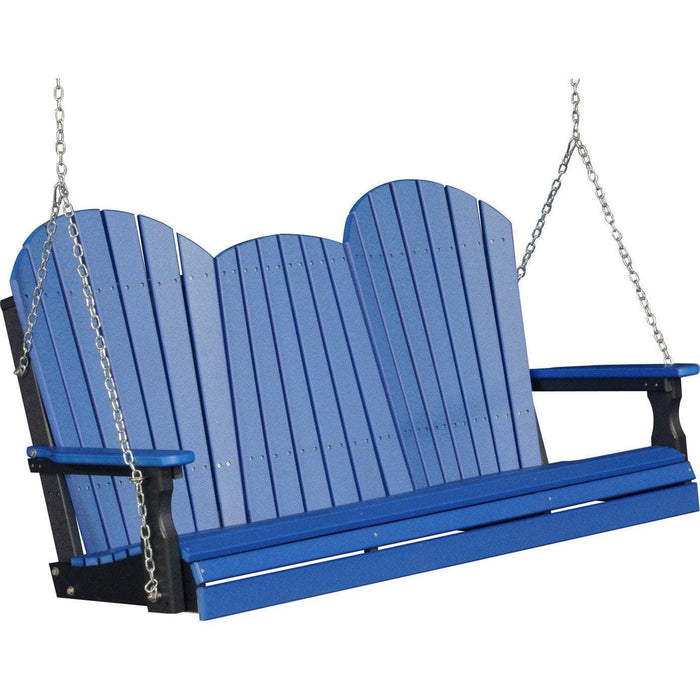 LuxCraft LuxCraft Adirondack 5ft. Recycled Plastic Porch Swing Blue On Black / Adirondack Porch Swing 5APSBB
