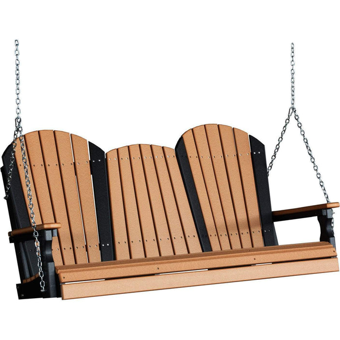 LuxCraft LuxCraft Adirondack 5ft. Recycled Plastic Porch Swing Cedar On Black / Adirondack Porch Swing 5APSCB