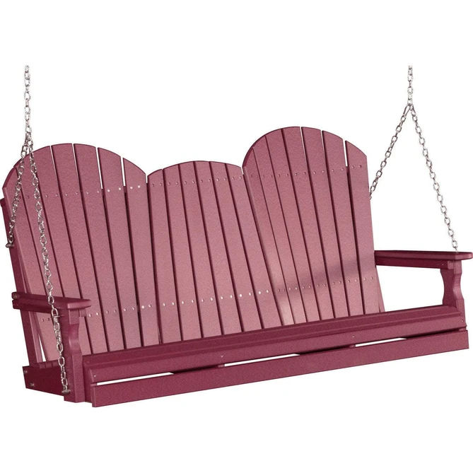 LuxCraft LuxCraft Adirondack 5ft. Recycled Plastic Porch Swing Cherry / Adirondack Porch Swing Porch Swing 5APSC