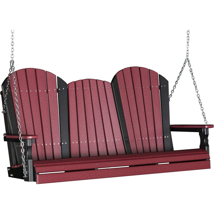 LuxCraft LuxCraft Adirondack 5ft. Recycled Plastic Porch Swing Cherrywood On Black / Adirondack Porch Swing 5APSCWB
