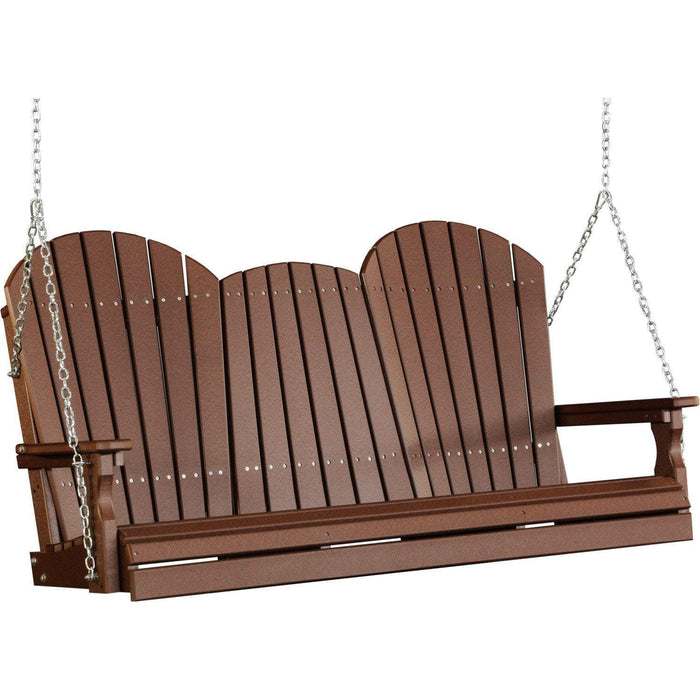 LuxCraft LuxCraft Adirondack 5ft. Recycled Plastic Porch Swing Chestnut Brown / Adirondack Porch Swing 5APSCBR