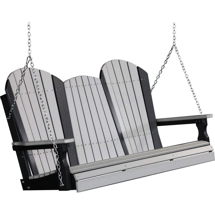 LuxCraft LuxCraft Adirondack 5ft. Recycled Plastic Porch Swing Dove Gray On Black / Adirondack Porch Swing 5APSDGB