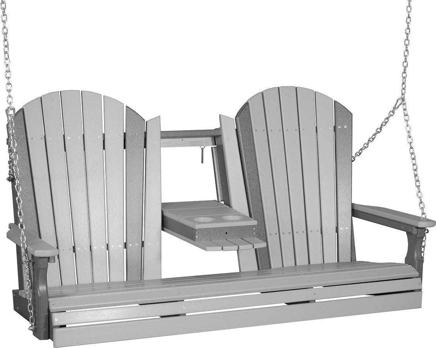 LuxCraft LuxCraft Adirondack 5ft. Recycled Plastic Porch Swing Dove Gray on Slate / Adirondack Porch Swing 5APSDGS