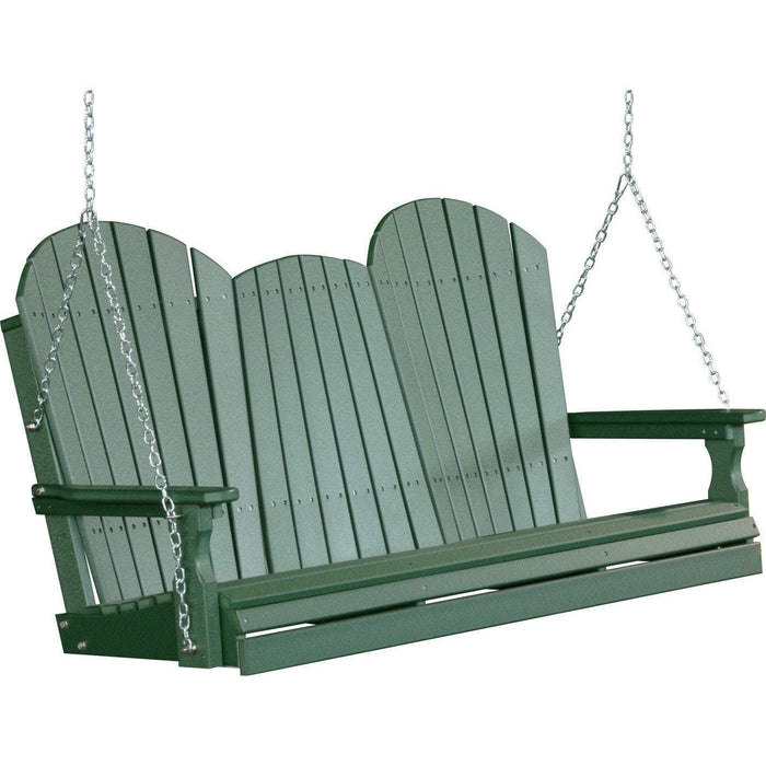 LuxCraft LuxCraft Adirondack 5ft. Recycled Plastic Porch Swing Green / Adirondack Porch Swing 5APSG