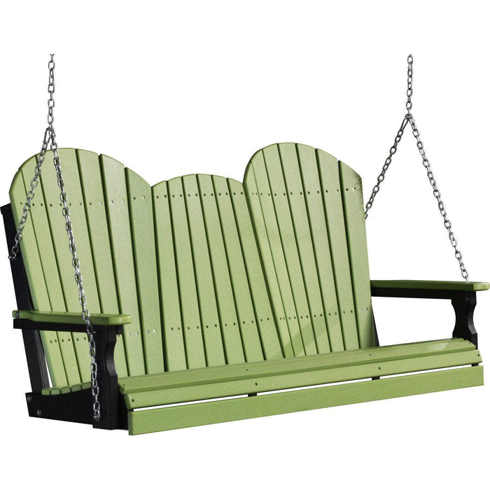 LuxCraft LuxCraft Adirondack 5ft. Recycled Plastic Porch Swing Lime Green On Black / Adirondack Porch Swing 5APSLGB