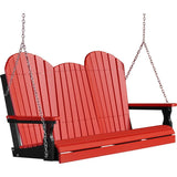 LuxCraft LuxCraft Adirondack 5ft. Recycled Plastic Porch Swing Red On Black / Adirondack Porch Swing 5APSRB