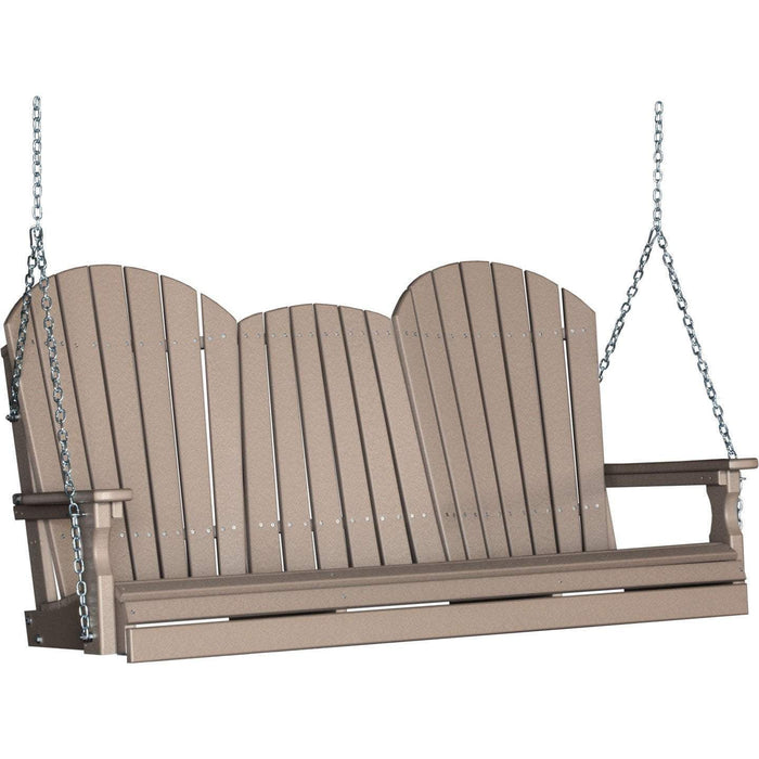 LuxCraft LuxCraft Adirondack 5ft. Recycled Plastic Porch Swing Weatherwood / Adirondack Porch Swing 5APSWW