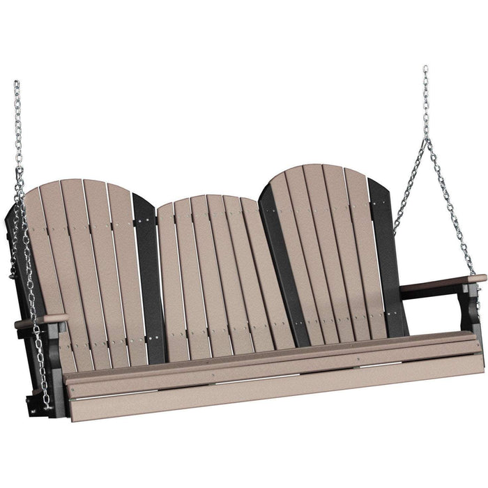 LuxCraft LuxCraft Adirondack 5ft. Recycled Plastic Porch Swing Weatherwood On Black / Adirondack Porch Swing 5APSWWB