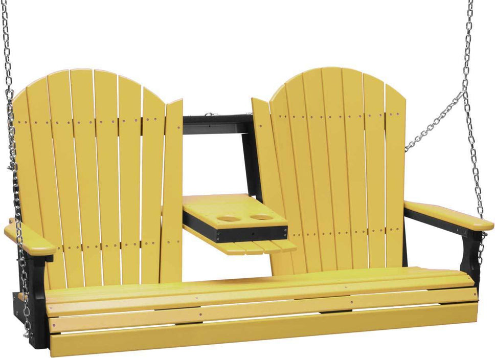LuxCraft LuxCraft Adirondack 5ft. Recycled Plastic Porch Swing Yellow On Black / Adirondack Porch Swing 5APSYB