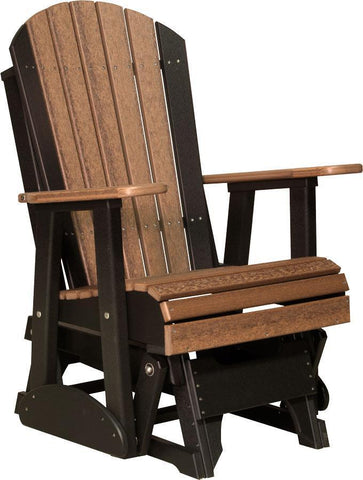 LuxCraft LuxCraft Adirondack Recycled Plastic 2 Foot Glider Chair Antique Mahogany on Black Glider Chair 2APGAMB