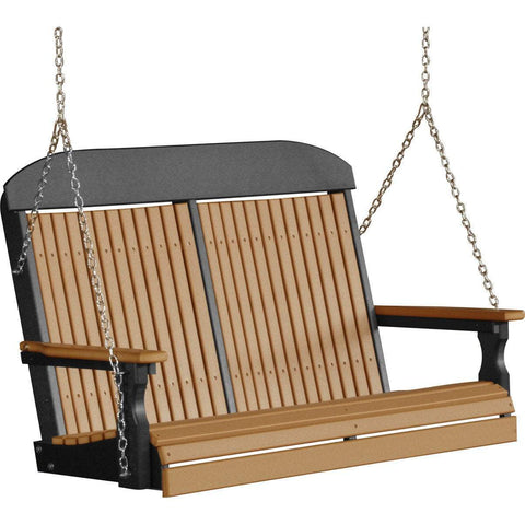 LuxCraft LuxCraft Classic Highback 4ft. Recycled Plastic Porch Swing Cedar On Black Poly Porch Swing 4CPSCB