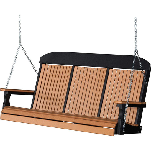 LuxCraft LuxCraft Classic Highback 5ft. Recycled Plastic Porch Swing Cedar On Black / Classic Porch Swing 5CPSCB
