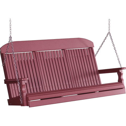 LuxCraft LuxCraft Classic Highback 5ft. Recycled Plastic Porch Swing Cherry / Classic Porch Swing 5CPSC