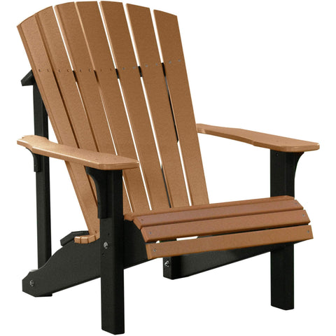 LuxCraft LuxCraft Deluxe Recycled Plastic Adirondack Chair Cedar On Black Adirondack Deck Chair PDACCB