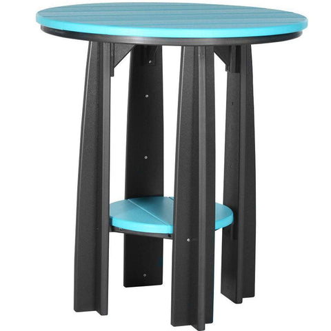 "LuxCraft LuxCraft Recycled Plastic 36"" Balcony Table Aruba Blue On Black Tables PBATABB"