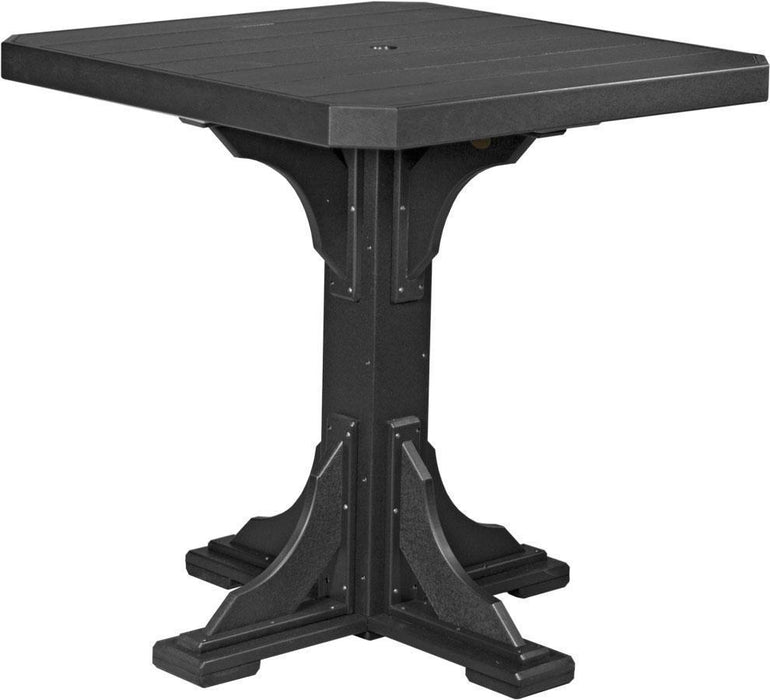 "LuxCraft LuxCraft Recycled Plastic 41"" Square Table Black / Bar Tables P41STBBK"