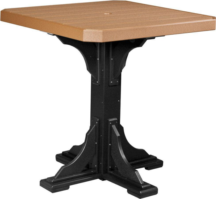 "LuxCraft LuxCraft Recycled Plastic 41"" Square Table Cedar On Black / Bar Tables P41STBCB"