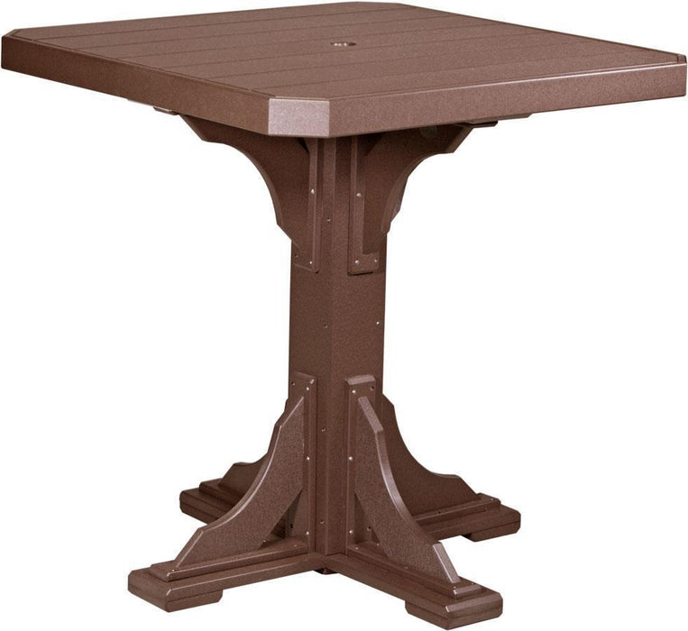 "LuxCraft LuxCraft Recycled Plastic 41"" Square Table Chestnut Brown / Bar Tables P41STBCBR"