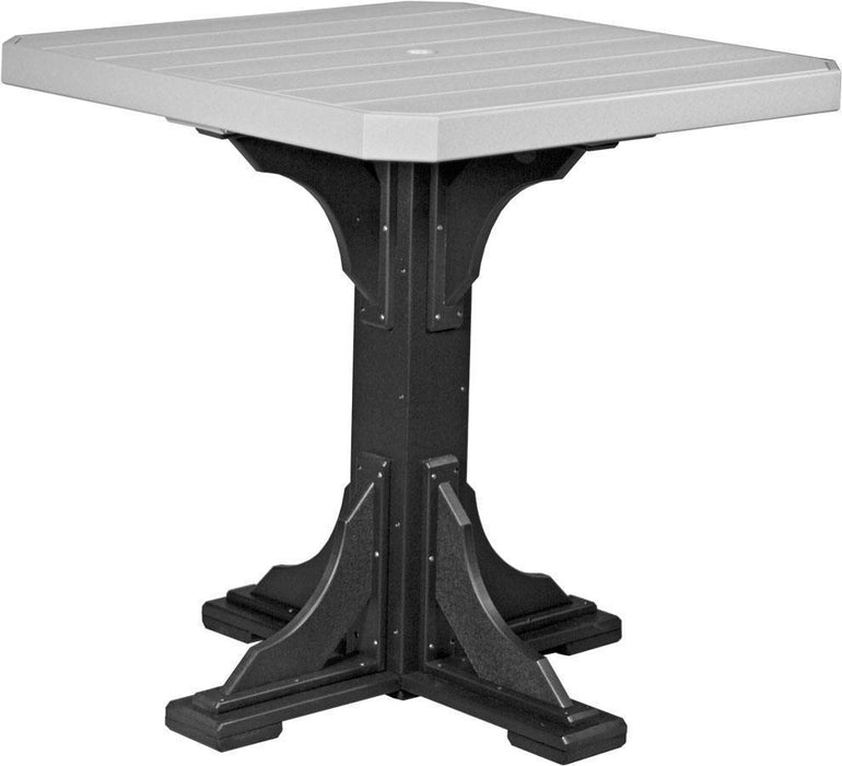 "LuxCraft LuxCraft Recycled Plastic 41"" Square Table Dove Gray On Black / Bar Tables P41STBDGB"