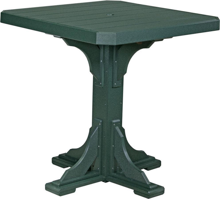 "LuxCraft LuxCraft Recycled Plastic 41"" Square Table Green / Bar Tables P41STBG"
