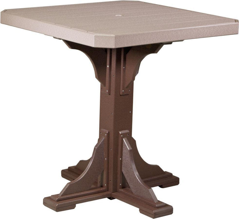 "LuxCraft LuxCraft Recycled Plastic 41"" Square Table Weather Wood On Chestnut Brown / Bar Tables P41STBWWCBR"