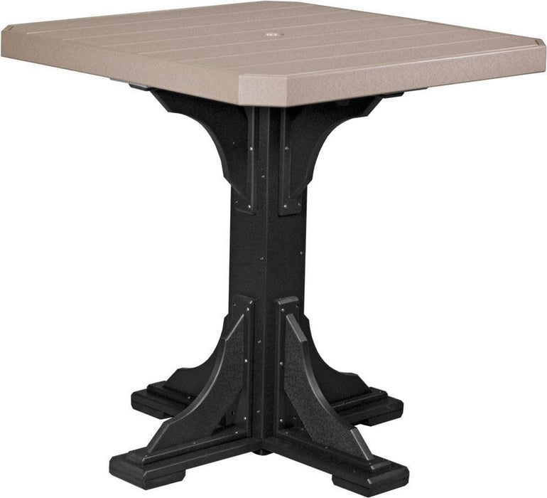 "LuxCraft LuxCraft Recycled Plastic 41"" Square Table Weatherwood On Black / Bar Tables P41STBWWB"