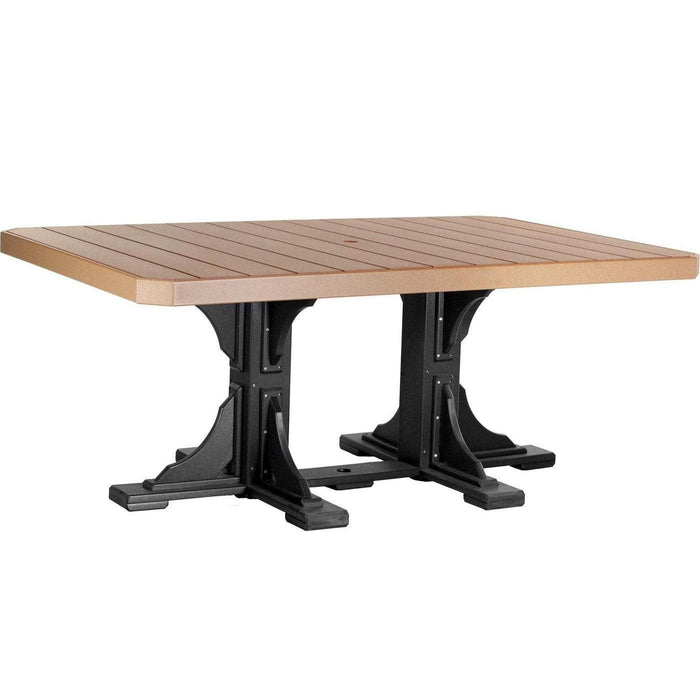 LuxCraft LuxCraft Recycled Plastic 4x6 Rectangular Table Cedar On Black / Bar Tables P46RTBCB