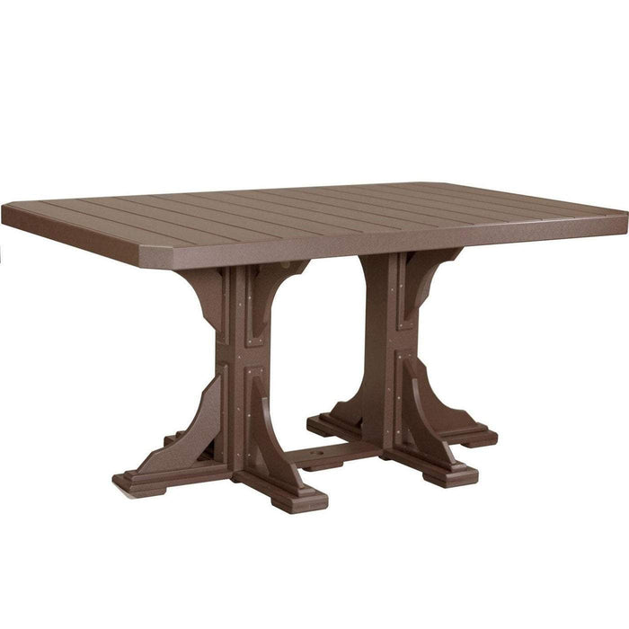 LuxCraft LuxCraft Recycled Plastic 4x6 Rectangular Table Chestnut Brown / Bar Tables P46RTBCBR