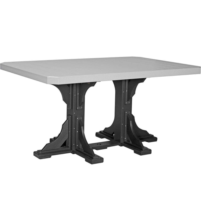 LuxCraft LuxCraft Recycled Plastic 4x6 Rectangular Table Dove Gray On Black / Bar Tables P46RTBDGB