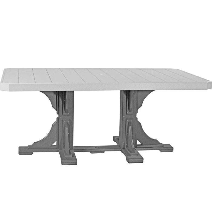 LuxCraft LuxCraft Recycled Plastic 4x6 Rectangular Table Dove Gray On Slate / Bar Tables P46RTBDGS