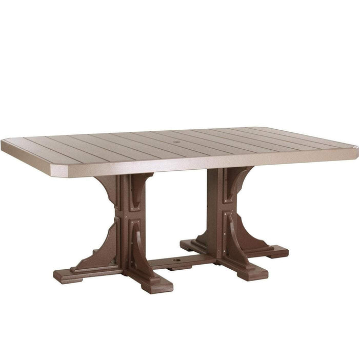 LuxCraft LuxCraft Recycled Plastic 4x6 Rectangular Table Weather Wood On Chestnut Brown / Bar Tables P46RTBWWCBR