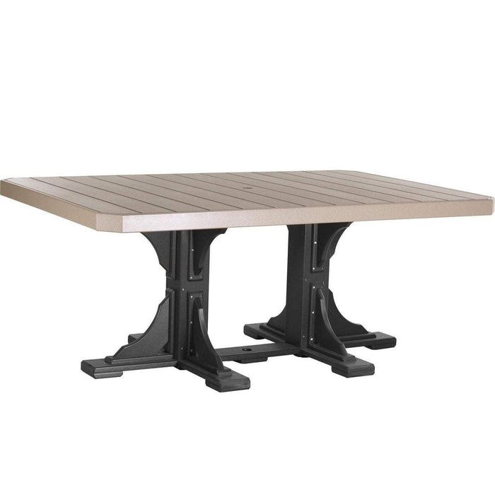 LuxCraft LuxCraft Recycled Plastic 4x6 Rectangular Table Weatherwood On Black / Bar Tables P46RTBWWB
