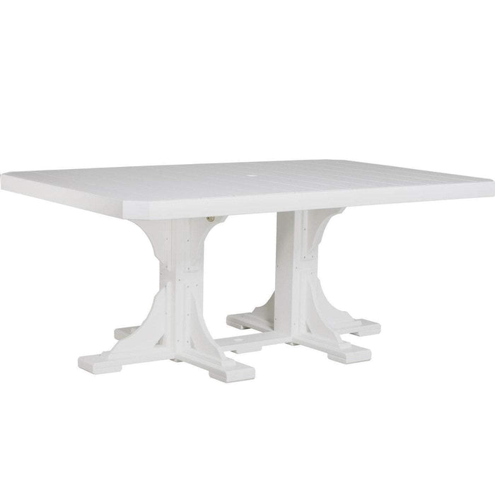 LuxCraft LuxCraft Recycled Plastic 4x6 Rectangular Table White / Bar Tables P46RTBW