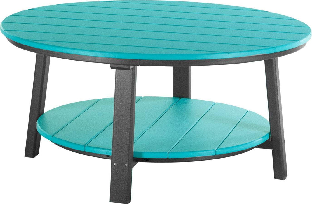 LuxCraft LuxCraft Recycled Plastic Deluxe Conversation Table Aruba Blue on Black Accessories PDCTABB