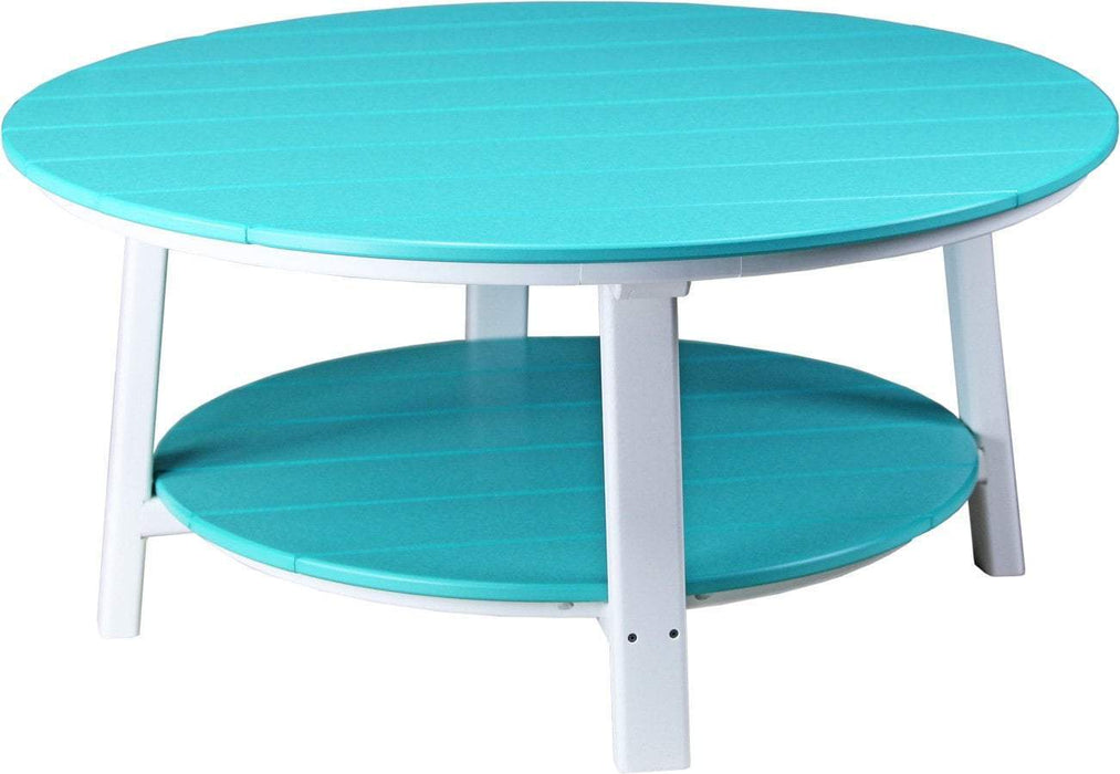 LuxCraft LuxCraft Recycled Plastic Deluxe Conversation Table Aruba Blue on White Accessories PDCTABW