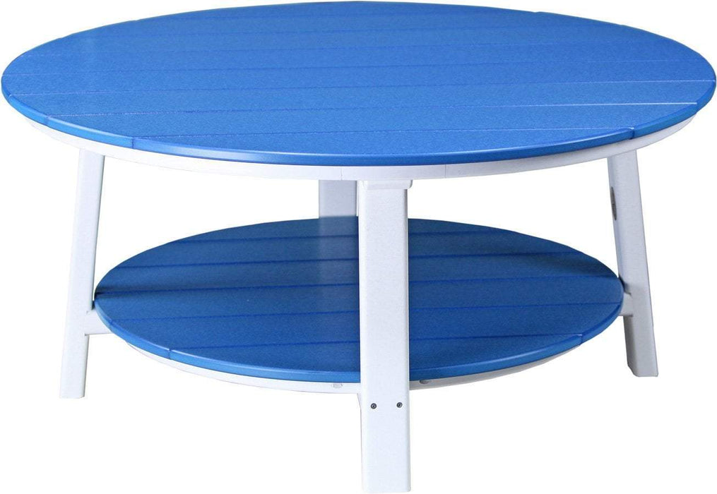 LuxCraft LuxCraft Recycled Plastic Deluxe Conversation Table Blue on White Accessories PDCTBW