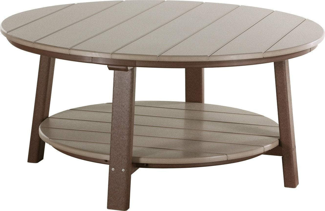 LuxCraft LuxCraft Recycled Plastic Deluxe Conversation Table Weather Wood on Chestnut Brown Accessories PDCTWWCBR