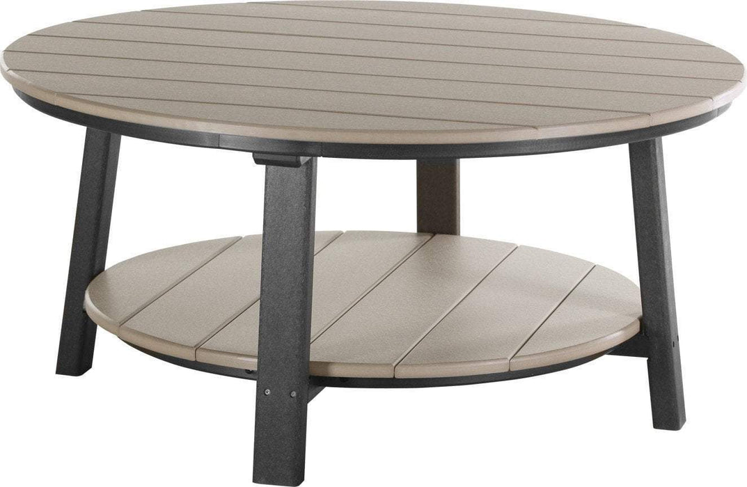 LuxCraft LuxCraft Recycled Plastic Deluxe Conversation Table Weatherwood on Black Accessories PDCTWWB