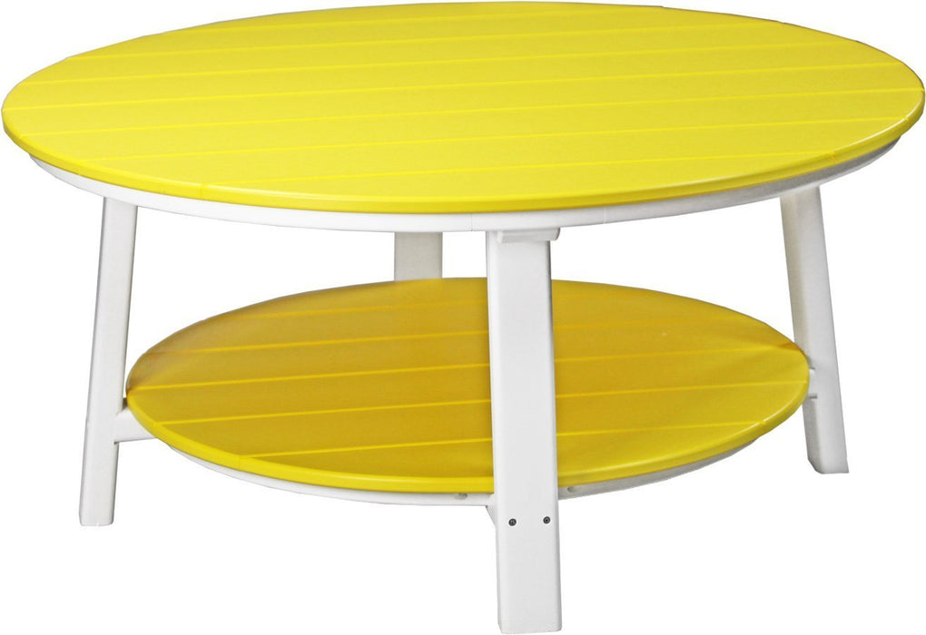 LuxCraft LuxCraft Recycled Plastic Deluxe Conversation Table Yellow on White Accessories PDCTYW