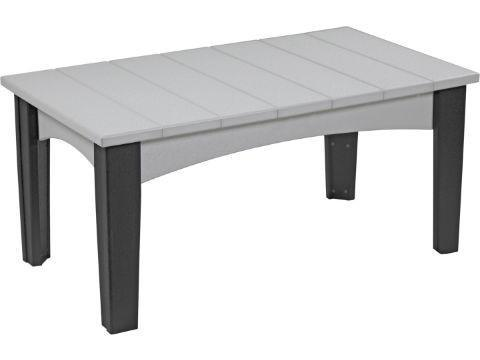 LuxCraft LuxCraft Recycled Plastic Island Coffee Table Dove Gray on Black Accessories ICTDGB