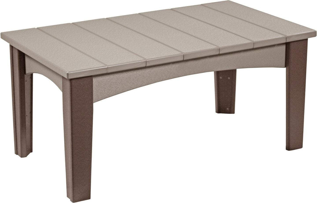 LuxCraft LuxCraft Recycled Plastic Island Coffee Table Weather Wood on Chestnut Brown Accessories ICTWWCBR
