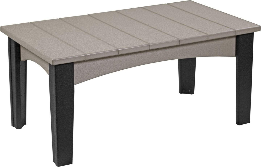 LuxCraft LuxCraft Recycled Plastic Island Coffee Table Weatherwood on Black Accessories ICTWWB