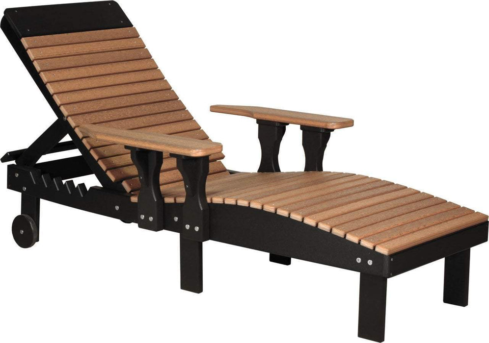 LuxCraft LuxCraft Recycled Plastic Lounge Chair Antique Mahogany on Black Adirondack Deck Chair PLCAMB