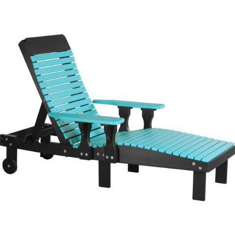 LuxCraft LuxCraft Recycled Plastic Lounge Chair Aruba Blue On Black Adirondack Deck Chair PLCABB