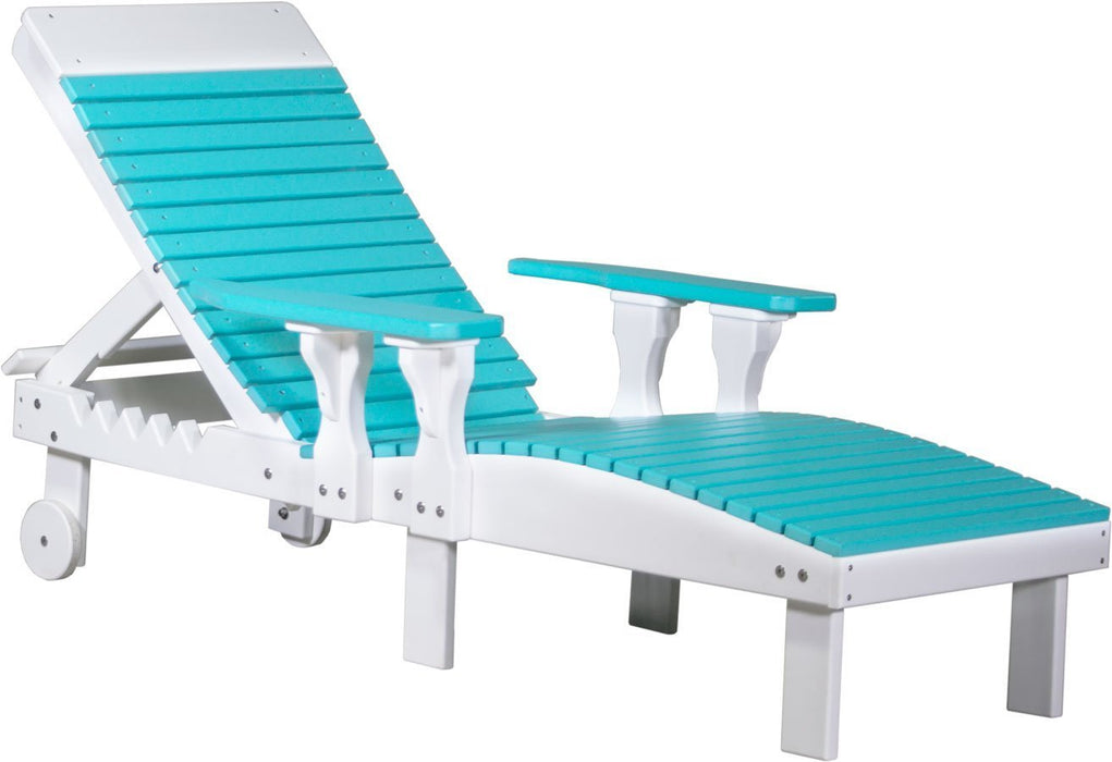 LuxCraft LuxCraft Recycled Plastic Lounge Chair Aruba Blue on White Adirondack Deck Chair PLCABW