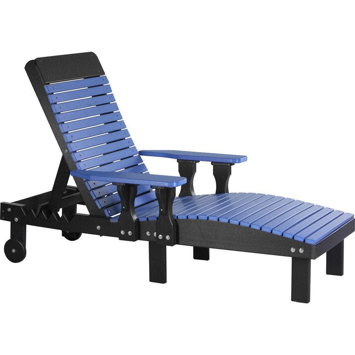 LuxCraft LuxCraft Recycled Plastic Lounge Chair Blue On Black Adirondack Deck Chair PLCBB