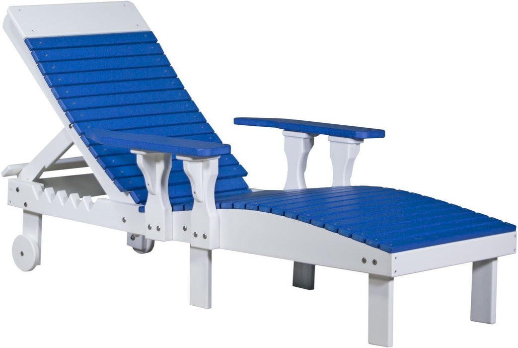 LuxCraft LuxCraft Recycled Plastic Lounge Chair Blue On White Adirondack Deck Chair PLCBW