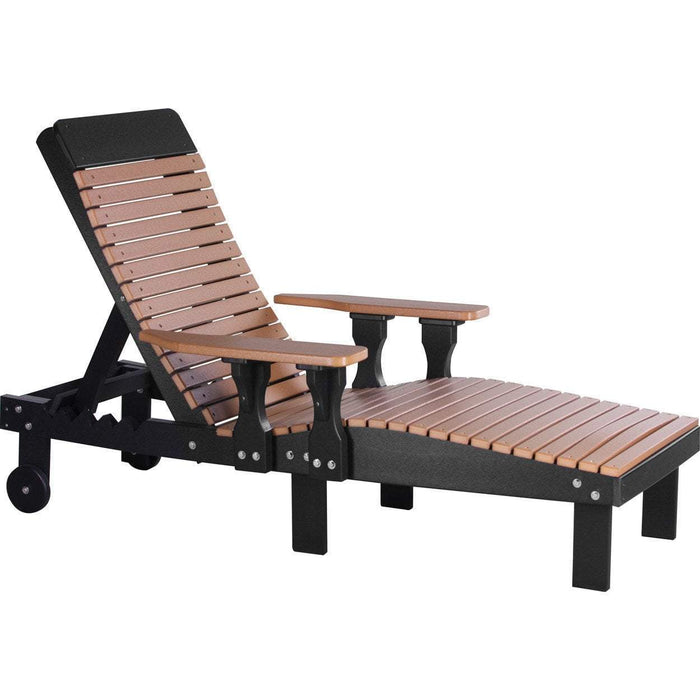 LuxCraft LuxCraft Recycled Plastic Lounge Chair Cedar On Black Adirondack Deck Chair PLCCB
